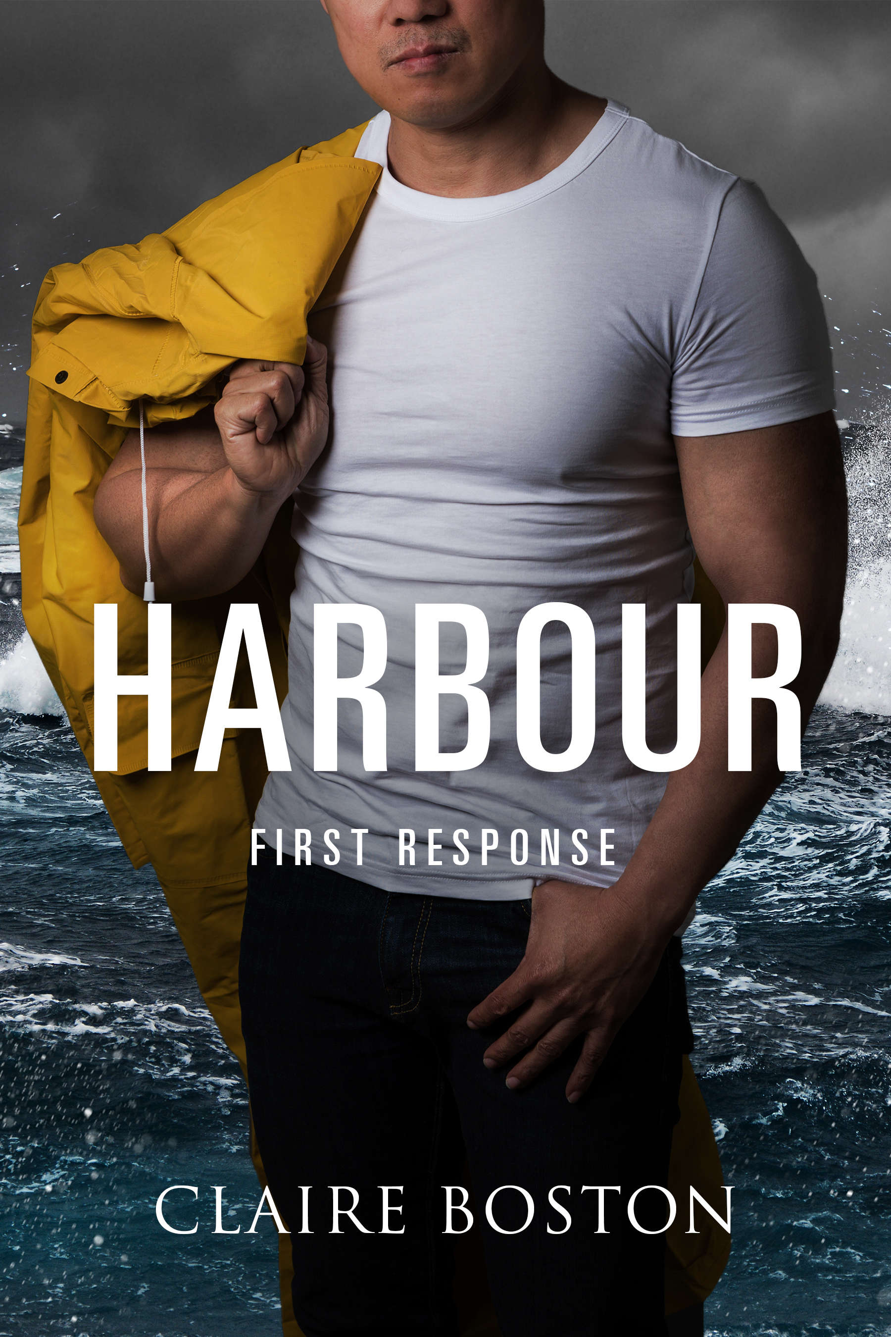 Harbour Cover. Man in blue jeans and white T-shirt with a yellow rainjacket over his shoulder and a stormy ocean in the background.