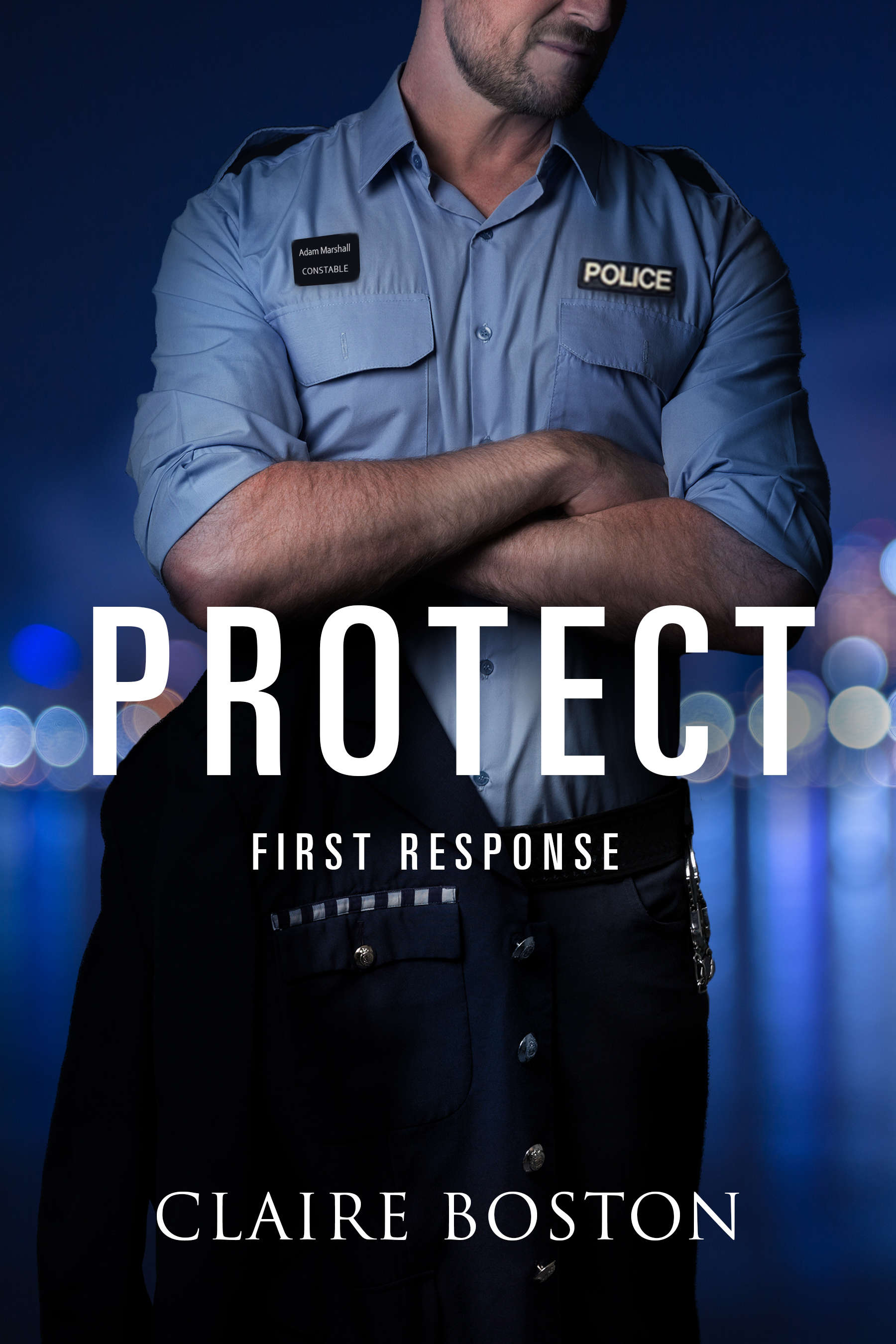 Protect Cover - Police officer with arms cross in front of city background