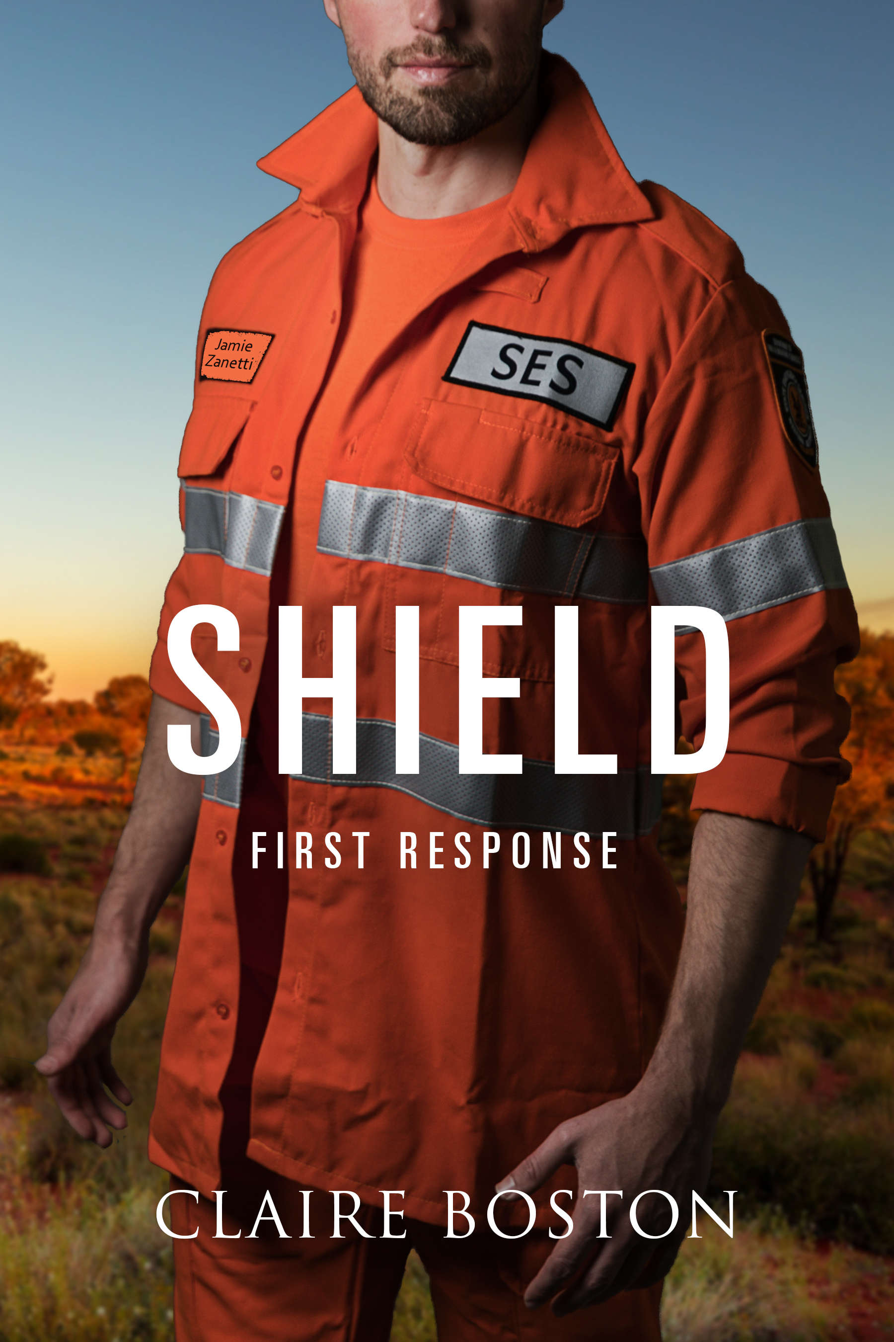 Shield Cover - SES volunteer with Australian bush in the background